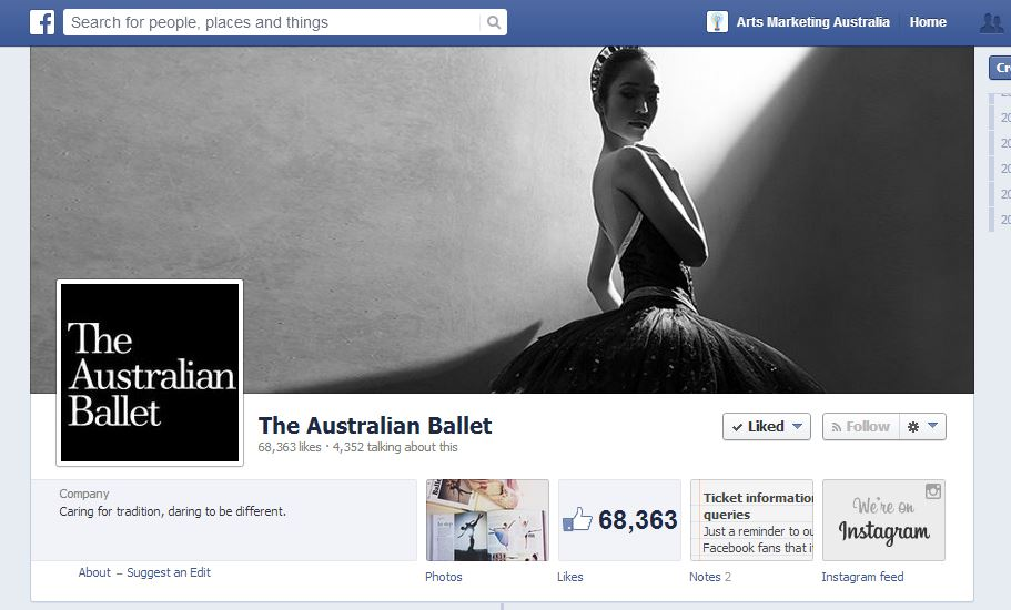 The Australia Ballet Facebook cover draws us in.